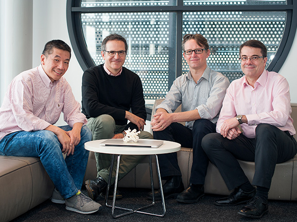 (L-R) Professors David Huang, Guillaume Lessene, Peter Czabotar and Andrew Roberts won the Prime Minister's Prize for Innovation for their role in the discovery of anti-cancer drugs